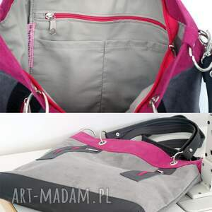 różowe na ramię torebka szaro - fuksja