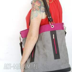 duża na ramię torebka szaro - fuksja