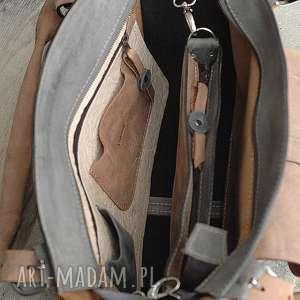 szara-torba na ramię torebka torba kuferek ręcznie