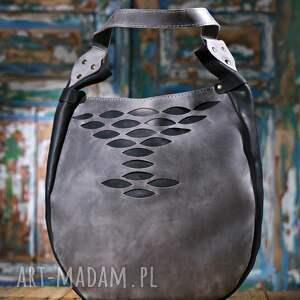 szare na ramię szara torba torebka ręcznie wykonana