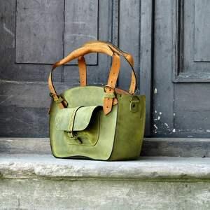 trendy na ramię torba z-kieszenią torebka w pięknym limonkowym