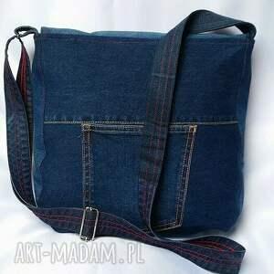 czerwone na ramię torba torebka z ciemnego jeansu