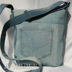 jeans na ramię torebka z jasnego jeansu