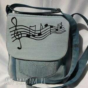 ręcznie zrobione na ramię torba torebka z jasnego jeansu