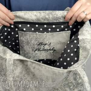 czarne na ramię jasna-torba tote bag kangoo l j. white