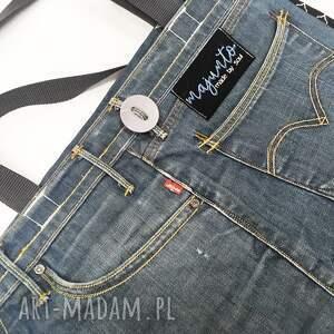 atrakcyjne na ramię upcykling jeans duża torba 24 levi