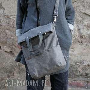 hand-made na ramię plecak 3w1 plecako - torba szary vegan