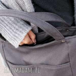 frapujące na ramię torebka miniks nubuk grafit faktura