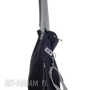 na ramię duża vege worek plecionka czarna #grey