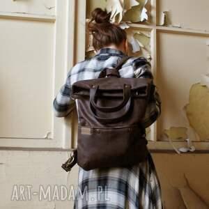 na ramię: 3w1 plecako - torba czekolada vegan - podróż