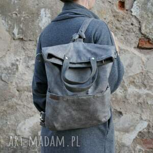 hand-made na ramię torba 3w1 plecako - szary vegan