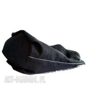 alkantara na ramię worek czarny z szarym