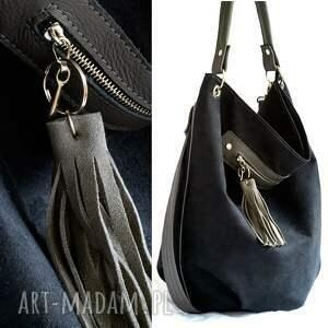 szare na ramię torebka worek czarny z szarym