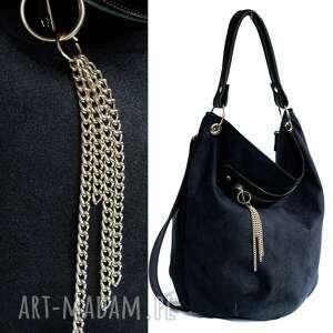 na ramię torebka worek czarny z łańcuszkiem
