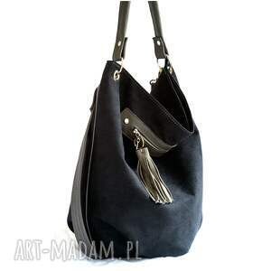 unikatowe na ramię torebka worek czarny z szarym