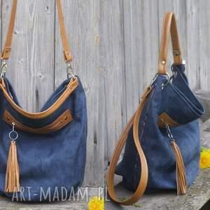 niebieskie na ramię torebka worek granatowy