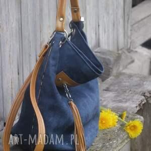 niesztampowe na ramię torebka worek granatowy