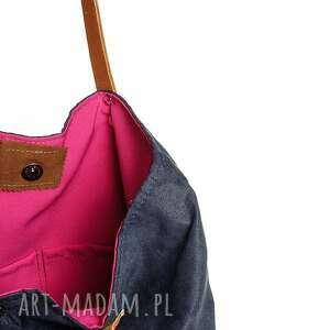 na ramię fuksja torba w kształcie wąskiego trapezu z tkaniny