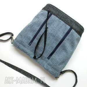worek na ramię niebieskie sakiewka - plecionka