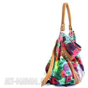 ręczne wykonanie na ramię torebka worek w kwiaty
