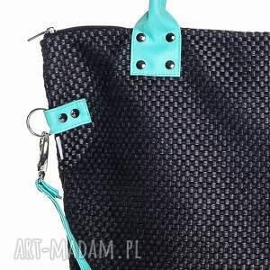 ręcznie wykonane na ramię worek xl #black&aquamarine