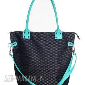 Pracownia Mana na ramię: Worek XL #black&aquamarine - seledyn