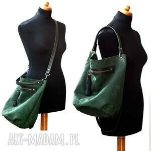aa3e015e5438c hand made na ramię worek zielony