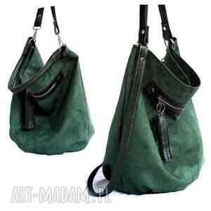 hand made na ramię torebka worek zielony