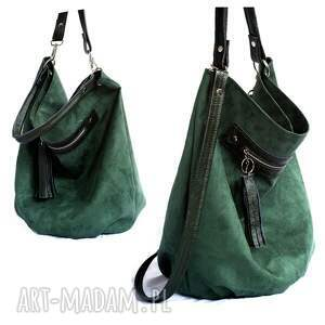 6fb6e40cf685d hand made na ramię torebka worek zielony