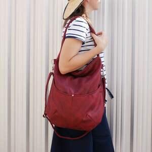 czerwone na ramię vegan zgrabna i bardzo pojemna torba (swobodnie