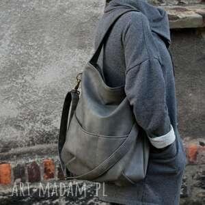 na ramię: Workówka vegan szary ciemny - minimal torba