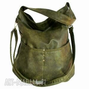 efektowne na ramię torba workówka vegan zieleń