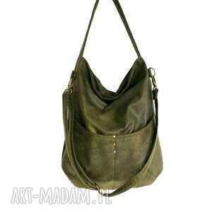 zielone na ramię torba zgrabna i bardzo pojemna (swobodnie
