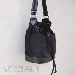 czarne na ramię listonoszka yocca - torba worek czarna