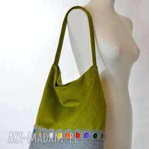 gustowne na ramię filc zielona torba hobo