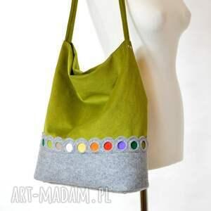 zielone na ramię filc zielona torba hobo