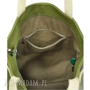 zielone na ramię torebki-skórzane 21-0012 zielona torba damska worek