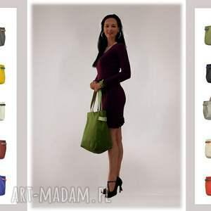 torebki-damskie na ramię 21-0012 zielona torba damska worek