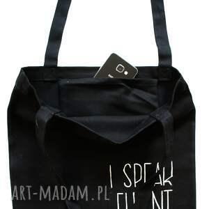 białe torba na ramie czarna na ramię i speak