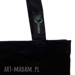 torba z-kieszonką czarna na ramię z hasłem