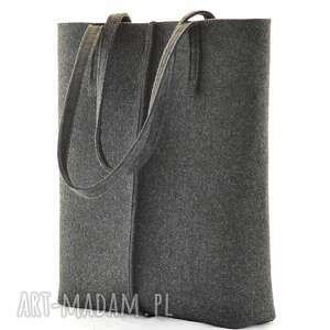 eleganckie na zakupy filc duża grafitowa torebka z filcu