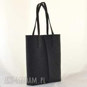czarne na zakupy filc duża grafitowa torebka z filcu