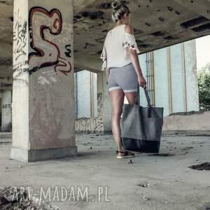 Duża grafitowa torba na ramię Shopper - miejska