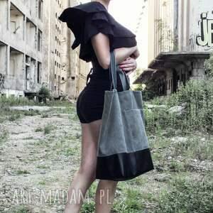 Duża grafitowa torba na ramię Shopper - miejska na zamek