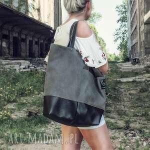 MONEST ATELIER Duża grafitowa torba na ramię Shopper - miejska z kieszeniami