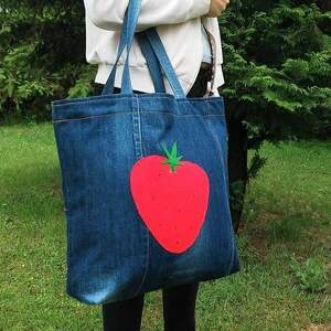 hand-made na zakupy torba duża z jeansu filcową