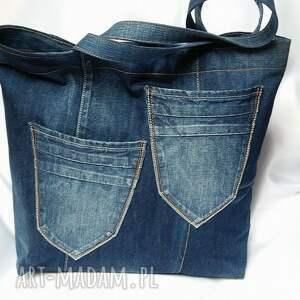 na zakupy truskawka duża torba z jeansu filcową