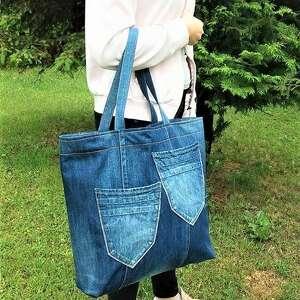 zielone na zakupy jeans duża torba z jeansu filcową