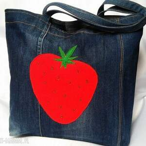 hand-made na zakupy truskawka duża torba z jeansu filcową