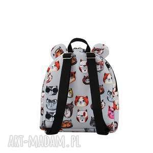unikatowe na zakupy ręcznieszyte plecaczek farbiś 2083 koty szare